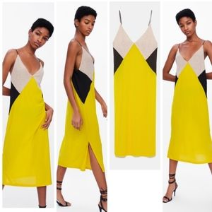 Zara yellow, tan, and yellow shift dress